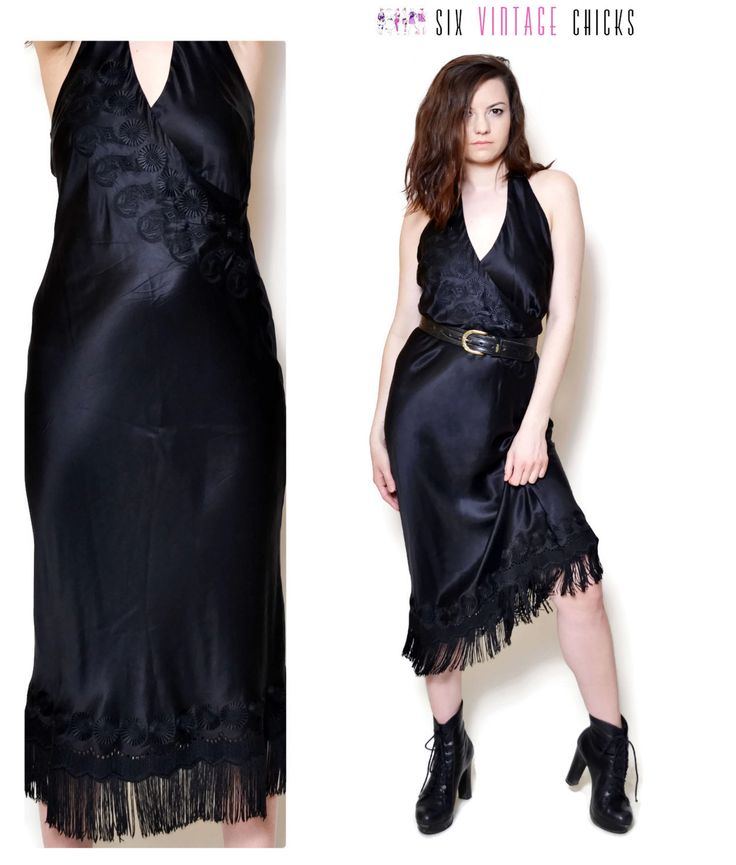 Midi Dress Black Dress Fringe dress 90s Rock Dress Embroidered dress Women's Clothing Rock, Goth, Bohemian, Festival Size M Italian Dress by SixVintageChicks on Etsy