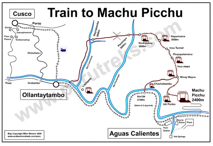 Peru Treks tour operator -- Machu Picchu by train (1 day).  $100-$150 for trains.  Can add in one night stay in Aguas Calientes.