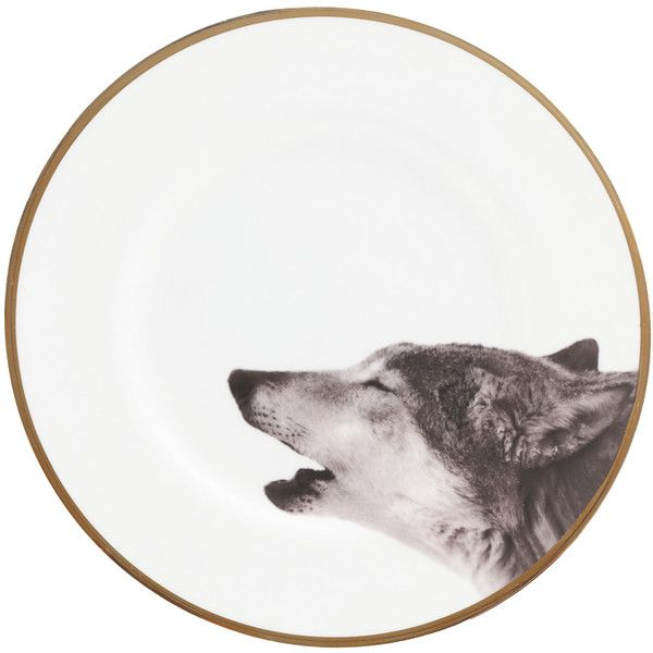 Howling wolf bone china plate (96.845 CLP) ❤ liked on Polyvore featuring home, kitchen & dining, dinnerware, circle, fillers, animals, kitchen, backgrounds, circular and round