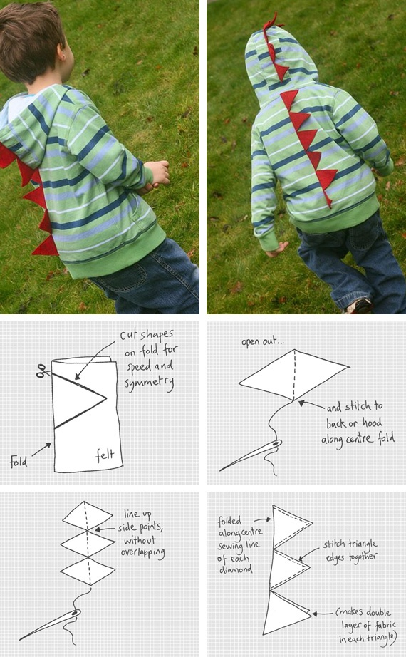 """Super simple way to make a dino hoodie... I would use a solid hoodie and bigger """"spikes"""".  Good tutorial though."""