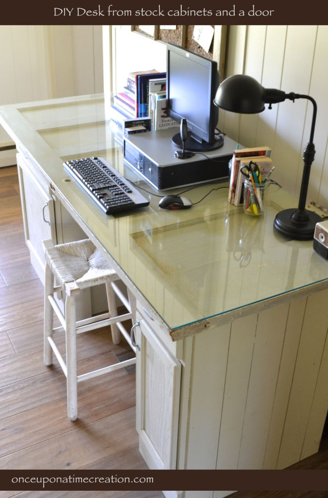 diy vintage door desk // I just don't know how to get a piece of glass to fit... and how to make sure I don't scratch the heck out of my arms on it