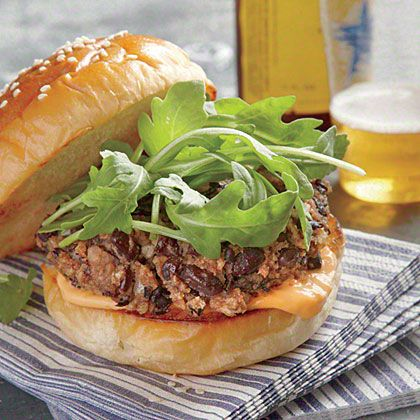 Black Bean Burgers with Sriracha Aioli from Cooking Light