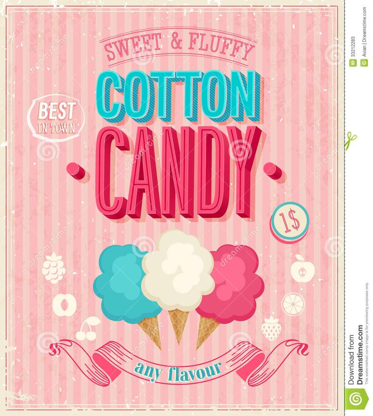 Vintage Cotton Candy Poster. Vector Illustration. Stock Photos ...