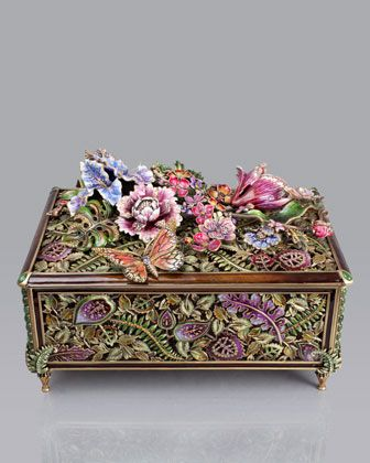 The craftsmanship is wonderful.  Grand Floral Chest by Jay Strongwater at Horchow.