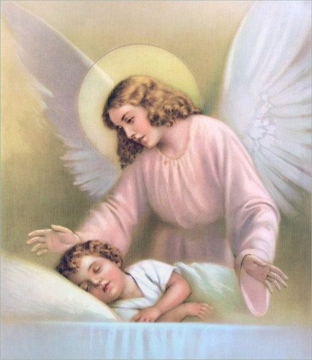 Guardian angel looking over child.