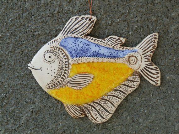 Fish, Ceramic fish, Fish tile, Funny fish, Ceramic tile, Yellow fish, Ceramics and pottery, Handmade fish, yellow ceramic fish tile