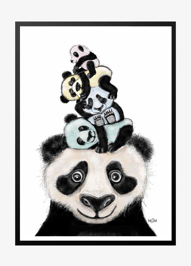 Panda illustration  vacker barns affisher med panda