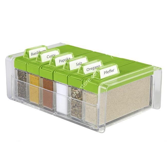 Pudełko na przyprawy + 6 pojemników Spice Box zielone EM-508458 | EMSA | 136,00 zł