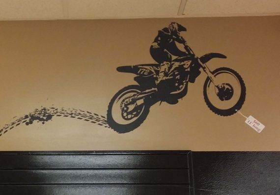 Dirt Bike with tracks vinyl lettering wall words stickers home decor vinyl decor graphics decals
