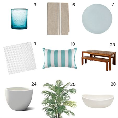 Get the look - Jo & Damo's Backyard - The Block NZ 2014 - visit blog.curate.co.nz for links to all these products and more.