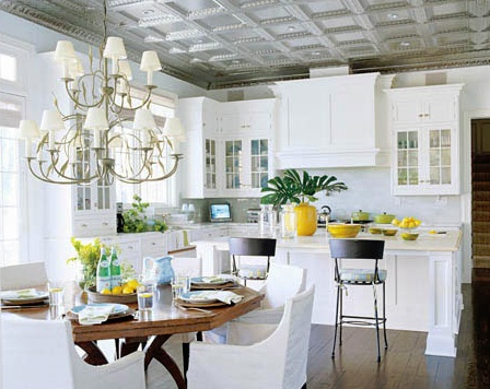 one accent color to offset the white: Idea, Tin Ceilings, Kitchens Design, Tins Ceilings, Press Tins, Ceilings Tile, Coastal Kitchens, Kitchens Cabinets, White Kitchens