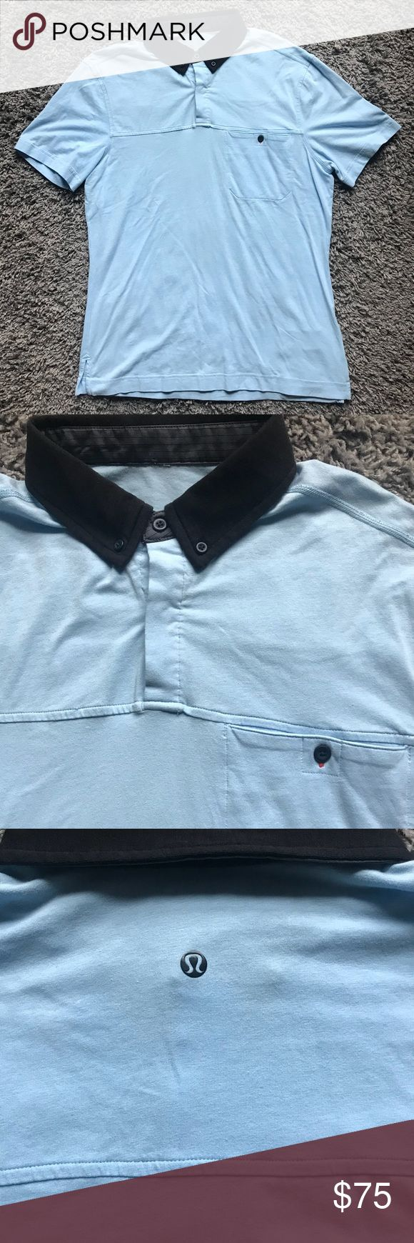 "Lululemon mens 2 Pocket Polo Shirt Gym Running M Size: Medium  In great condition, ready to wear form!  Has 2 button pockets, which isn't very common to see on lululemon shirts. Light blue color way that goes with almost anything. Black lululemon signature logo on the back of shirt which is very visible. 2 Button front. Button collar to keep collar in place.   Approximate measurements laying flat unstretched;   Pit to pit: 20.5""  Shoulder to shoulder: 18""  Length of back not including…"