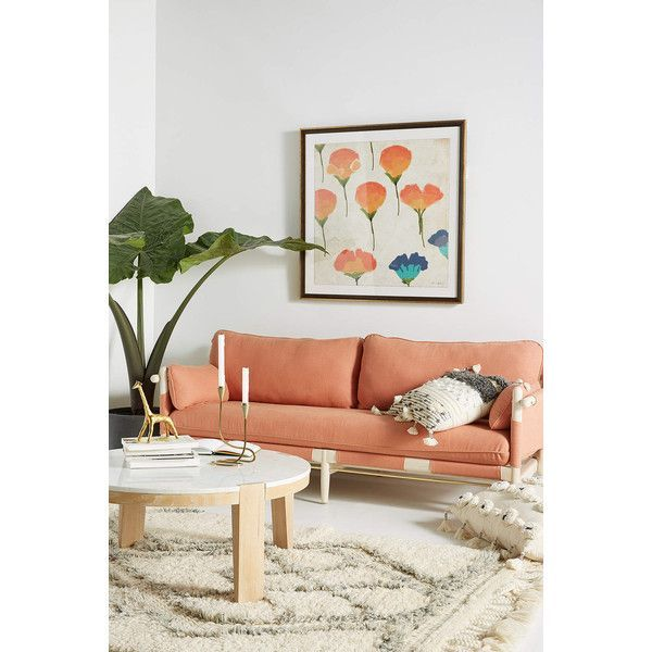 Anthropologie Belgian Linen Jamaica Sofa ($3,998) ❤ liked on Polyvore featuring home, furniture, sofas, peach, anthropologie, linen furniture, anthropologie sofa, linen couch and anthropologie furniture