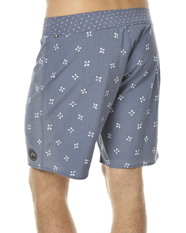 """Features: Style: Mens Boardshorts Colour: Navy Blue Material: 76% Polyester, 18% Cotton and 6% Spandex Fit Type: Regular fit with 18"""" outseam Waist Line: Flat waistband with tie Detail: Vintage flex stretchDetail: Lycra fly Detail: Zip pocket Detail: Sublimated printSize + Fit Guide: Model's Height: 185cm Model's Chest: 105cm Model's Waist: 89cm Model's Sleeve: 73cm Model wears a Size: M/32"""