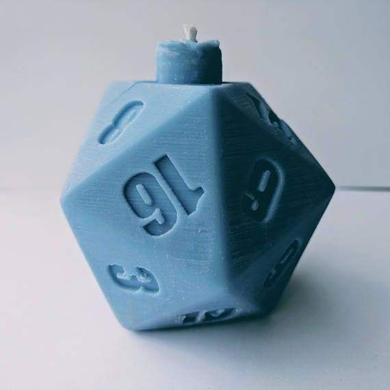 D&D Themed 20-Sided Dice Tabletop Candle. 3D printed the shape and cast silicone around it. Made from paraffin 130 and soy-based wax.