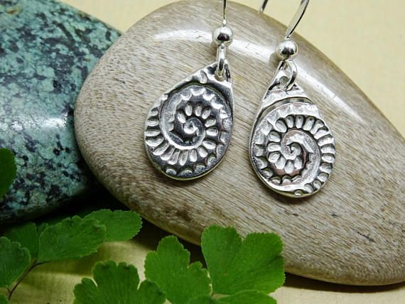 Silver fossil earrings small dangle minimal drop original https://www.etsy.com/uk/listing/465662149/silver-fossil-earrings-small-dangle?ref=listing-shop-header-3