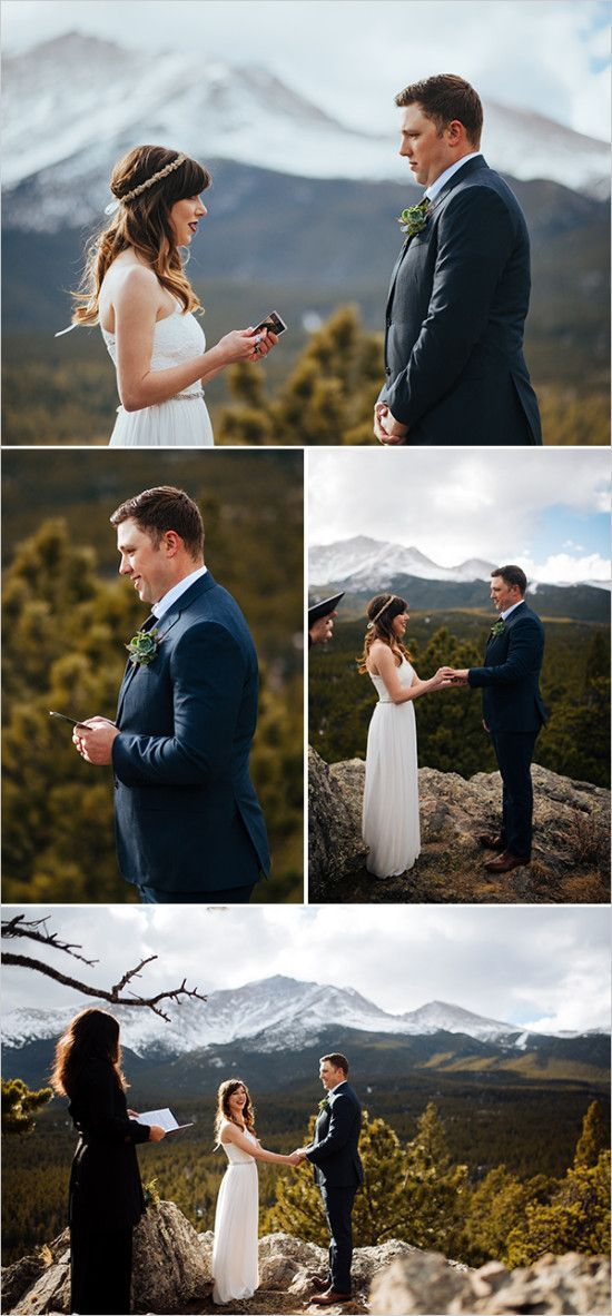 Rockie Mountain Elopement Ceremony on top of a mountain