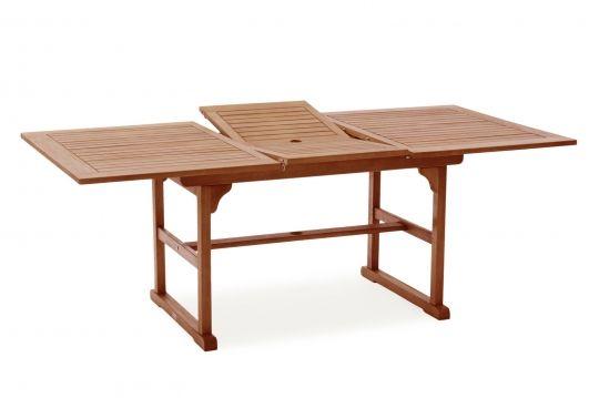 Gartentisch aus Eukalyptusholz, wetterfest und ausziehbar, 150/200x100x75cm