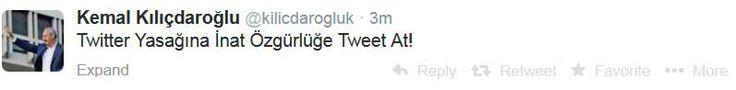 """CHP Genel Başkanı Kemal Kılıçdaroğlu , Twitter 'a yasağa tepkisini yine Twitter üzerinden gösterdi. Kılıçdaroğlu, kişisel hesabından yazdığı mesajında """"Twitter yasağına inat, özgürlüğe tweet at"""" ifadesini kullandı.  http://www.radikal.com.tr/politika/kilicdaroglu_twitter_yasagina_inat-1182477"""