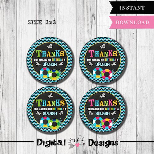 Pool Party Favor Tags – Pool Party Birthday Thank You Favor Tags – Girl Pool Party Favor Tags – Boy Pool Party Birthday Favor Tags – INSTANT DOWNLOAD –