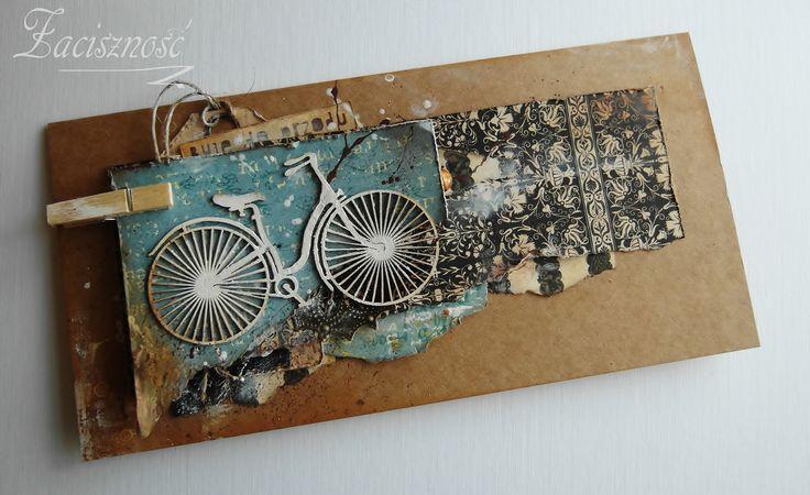 Kartka retro z rowerem/ Handmade retro card with a bike