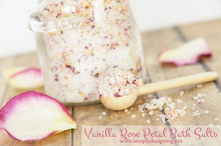 Vanilla Rose Petal Bath Salts   these homemade bath salts are so beautiful and make a perfect gift   #diybeauty #diyspa #handmadegift #bathsalts #bath #gift #mothersday #valentinesday