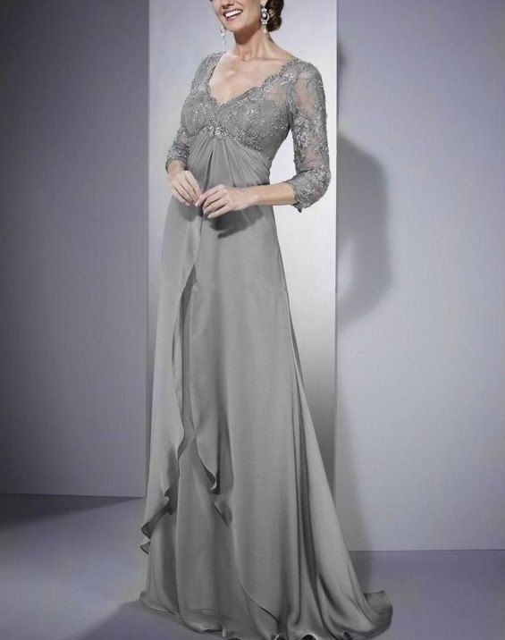 2013 Sexy Elegant Grey Mother of the Bride Evening Dress Wedding Lace V Neck Party Dress Prom Gown on Etsy, $115.88 CAD