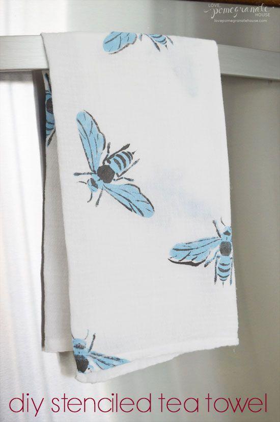 DIY Stenciled Tea Towel || Love, Pomegranate House