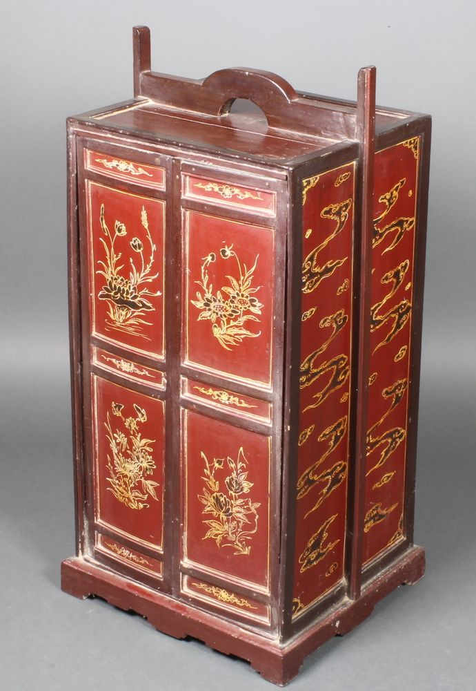 "Lot 966, A 19th Century Chinese red lacquered cabinet enclosed by panelled doors 34""h x 16""w x 14""d, sold for £95"