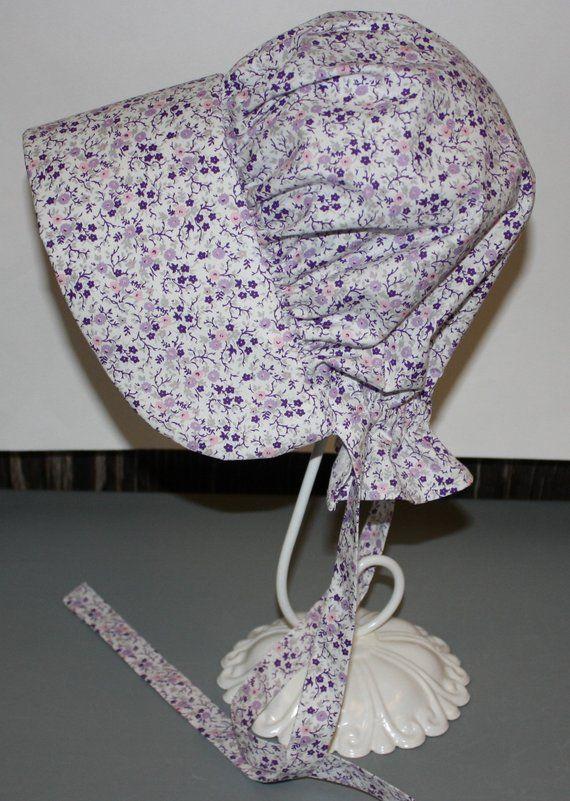 2242f8914c51ab Purple Calico Pioneer Bonnet/Sun Hat | Pioneer Clothes | Pioneer ...