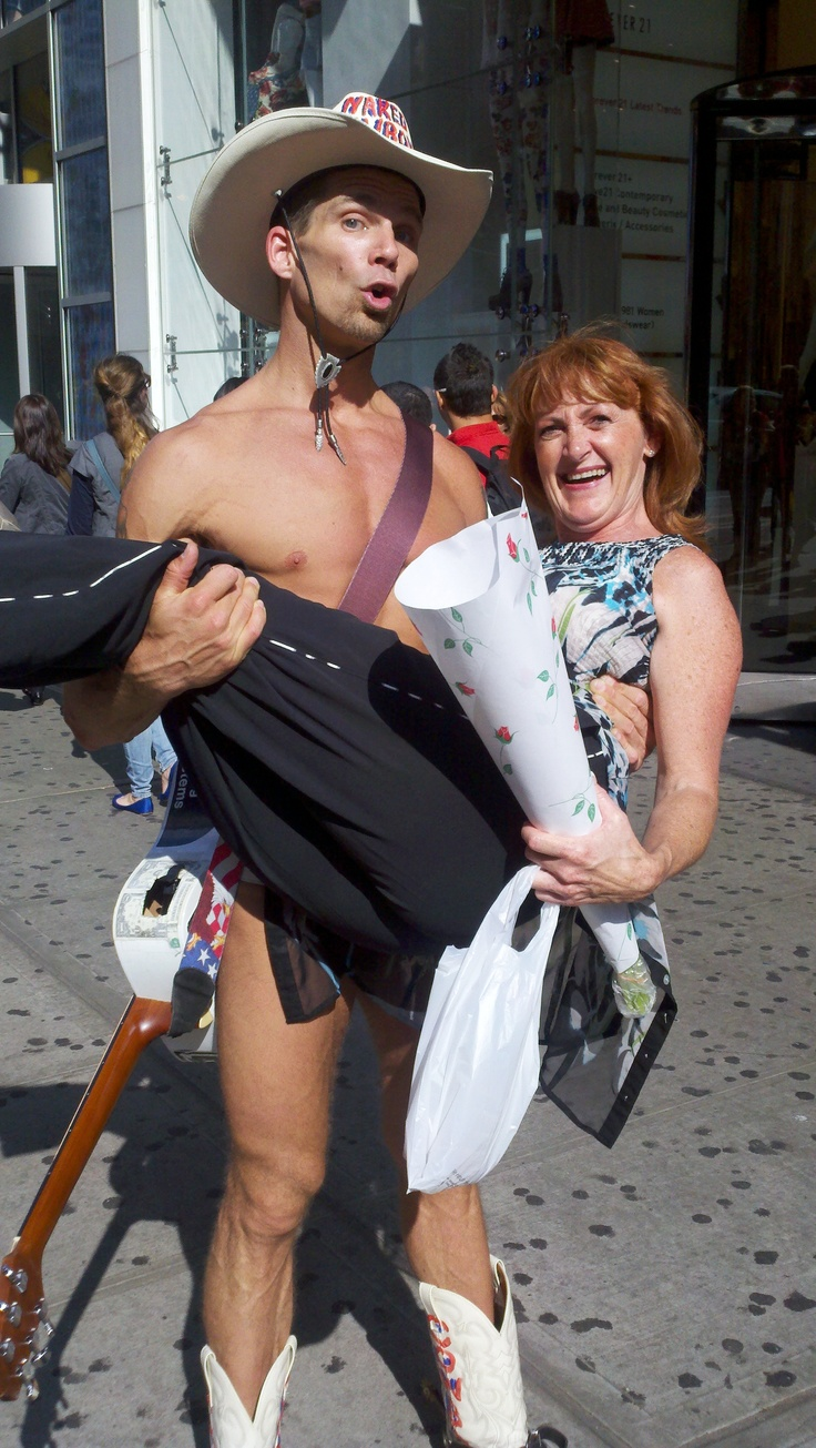 While campaigning for President, I had a real pick-me-up.  The Naked Cowboy loved my tulips and away we went! Thats a candid moment!