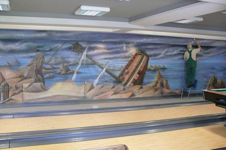 Artystyczne malowanie ścian, malarstwo dekoracyjne, mural, malowidła 3D, fresk, pokoje dziecięce: Aranżacja kręgielni - malowanie farbami uv