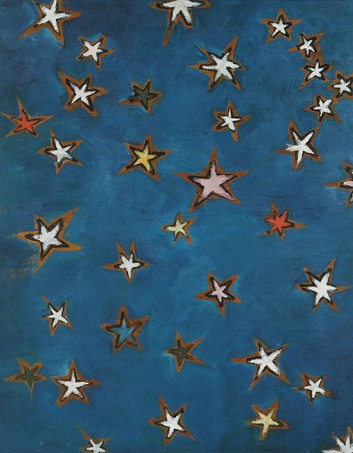 kees van dongen, stars, 1912,  Make something similar out of cardboard, cut out stars and paint around them, tape tissue paper to back