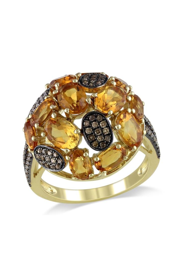 Brown Diamond & Madeira Citrine Ring