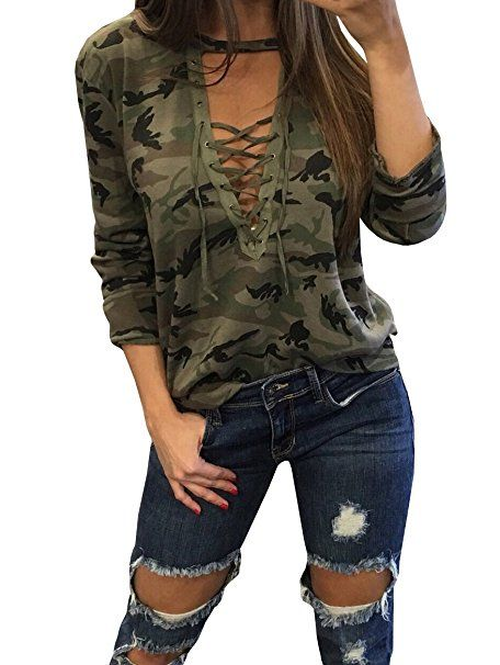 FISACE Women's Long Sleeve Camouflage Lace-up Loose Fit T Shirt Tops