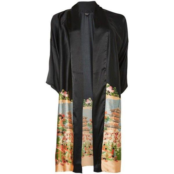 Women's Topshop Graphic Satin Kimono ($95) ❤ liked on Polyvore featuring intimates, robes, topshop kimono, satin kimono robe, satin robe, kimono robe and satin kimono