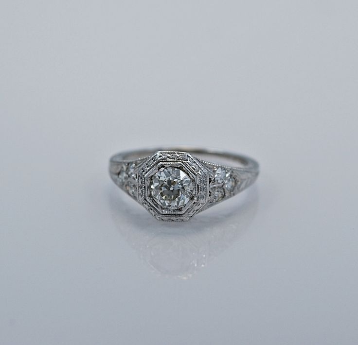 Platinum Art Deco .61ct. Diamond Engagement Ring - GIA Certificate - J34225 - pinned by pin4etsy.com