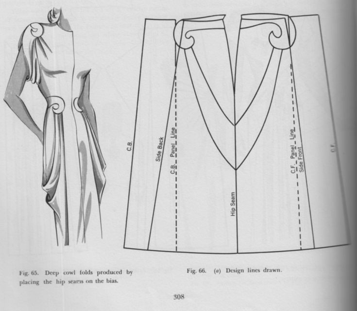 Pattern drafting for a draped dress