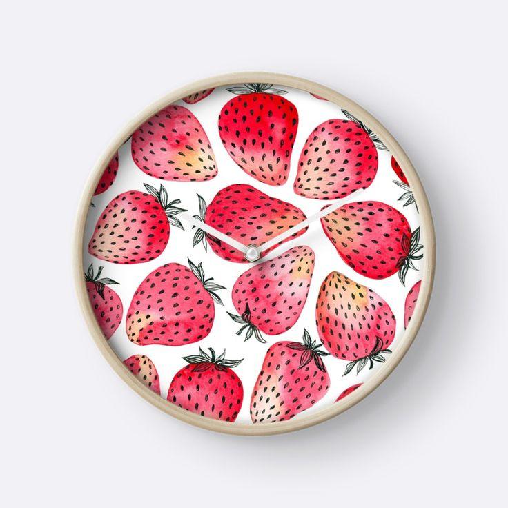 """Strawberries watercolor and ink"" Clocks by Katerina Kirilova | Redbubble #redbubble #clock #strawberry #pattern #watercolor #katerinakart"