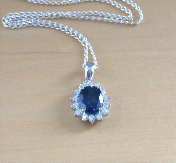 925 Sapphire Lab Created Oval Pendant & 18 by joannasjewellerycouk