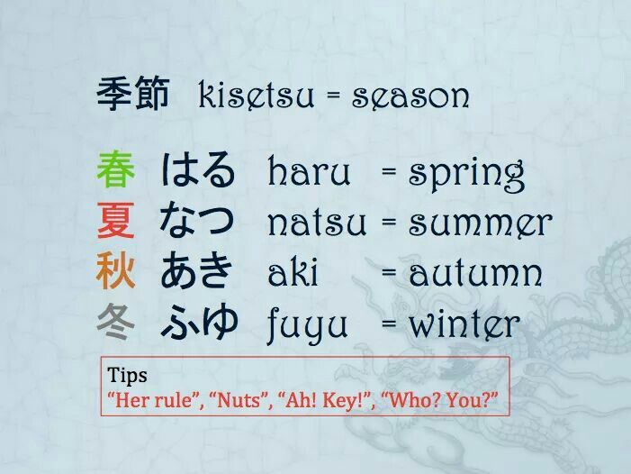MLC Japanese Language Vocabulary Seasons