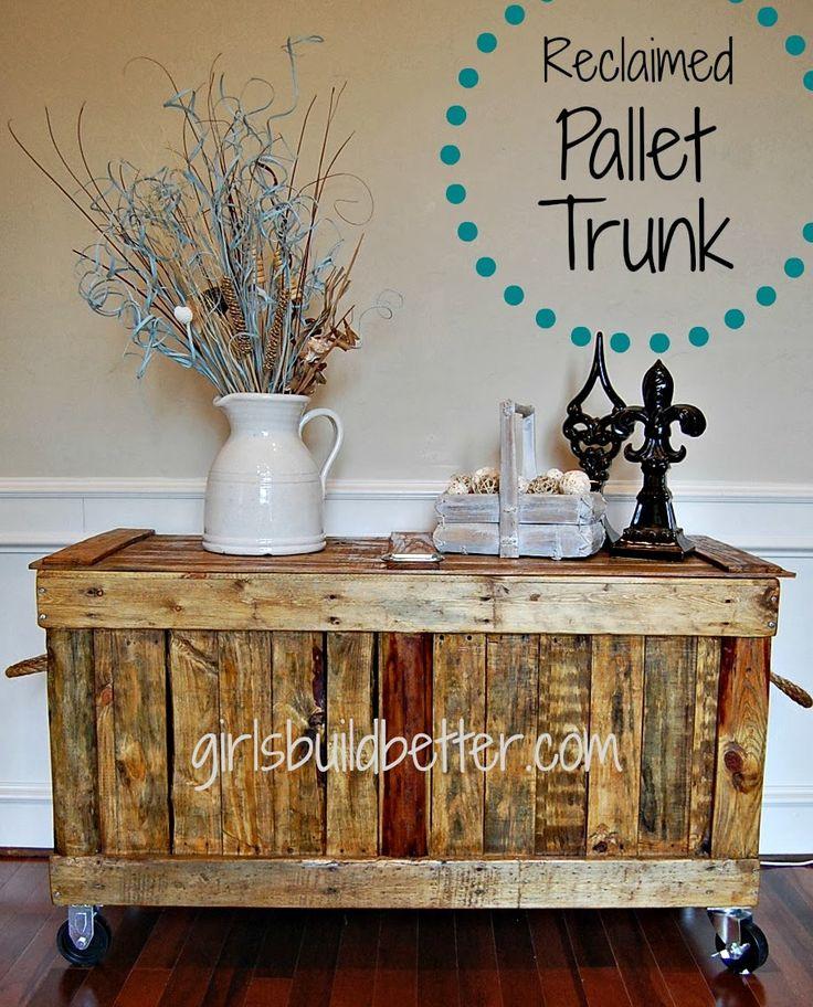 trunk, chest, pallet, reclaimed,DIY, beginner, plans, rustic, castor