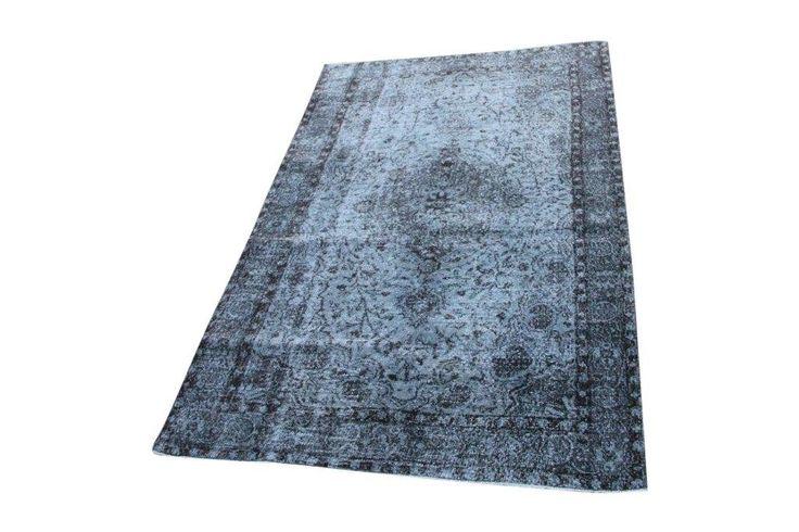 Vintage vloerkleed, blauw, 260cm x 170cm | Rozenkelim.nl - Groot assortiment kelim tapijten