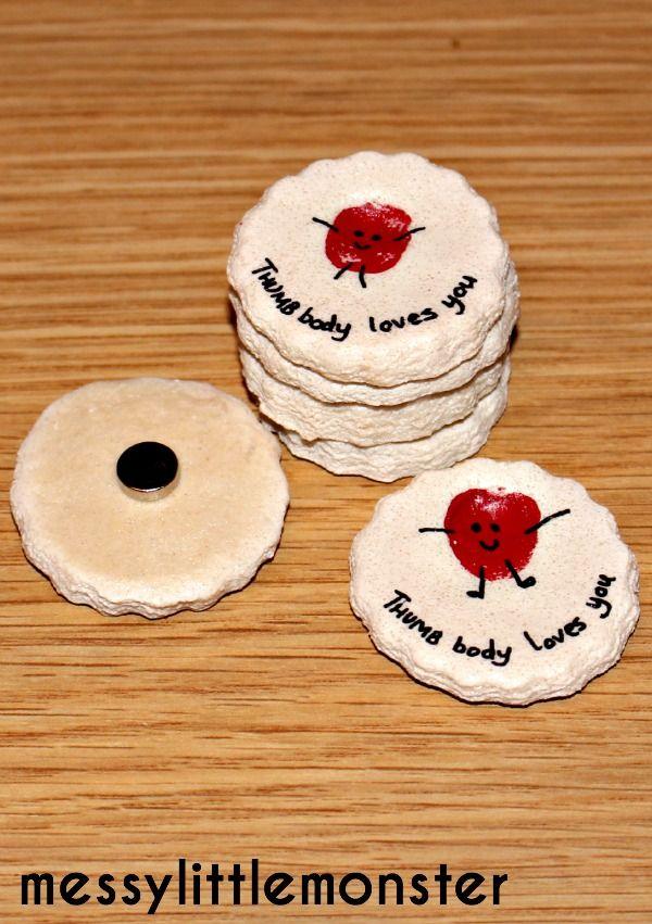 Messy Little Monster: Thumbprint Salt Dough Magnet: Thumb Body Loves You