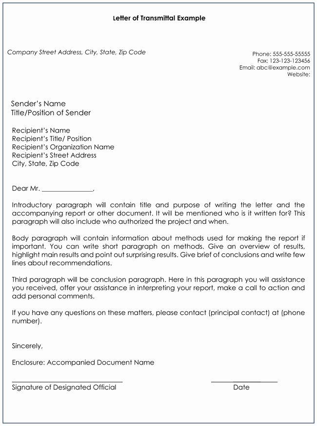 Document Transmittal Form Template Elegant Transmittal Letter