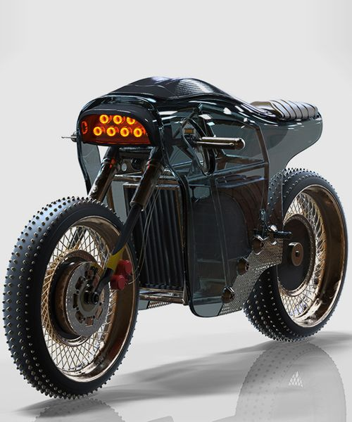 sinister electric café racer features burning hot headlamps