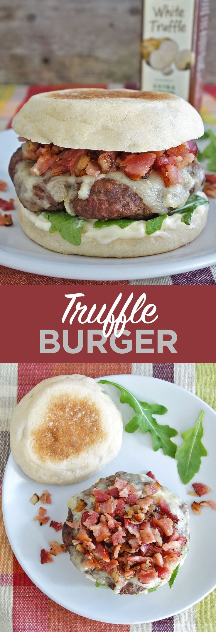 The delicious truffle burger is topped with truffle aioli, brie cheese, and diced bacon & onion. Yum! http://www.burgerartist.com/recipe/truffle-burger/