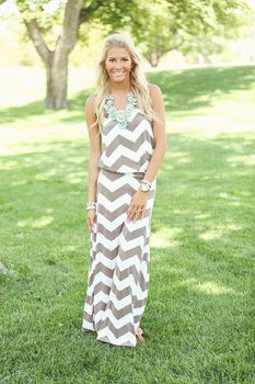 Slinky Chevron One Piece Maxi Mocha and Ivory - Modern Vintage Boutique