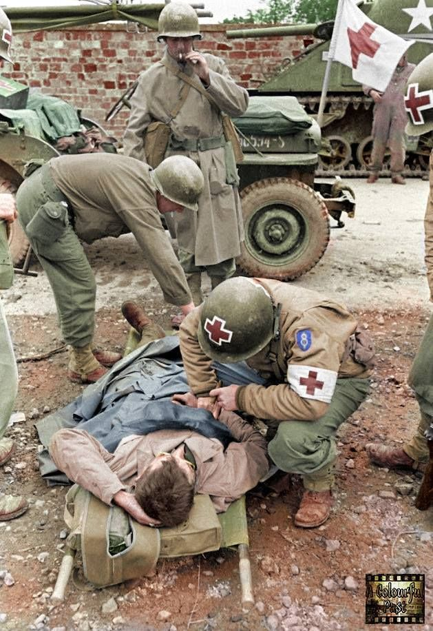 8th Medical Battalion, US 8th Infantry Division in La Haye du Puits, Normandy, France 7-9th July 1944