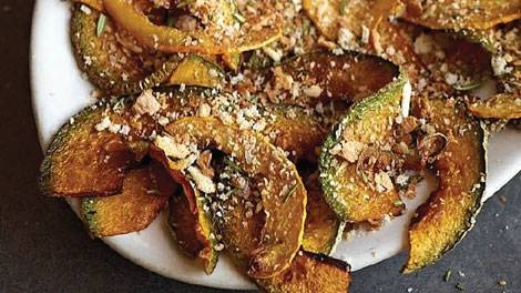Pumpkin chips with tangy breadcrumbs recipe : Taken from Two Greedy Italians